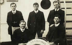Sidney Clist (front left), his brother John (back right) and their cousin Charles Rossiter (front right) with friends on board the TSS Rotorua to Wellington, NZ, 1910.