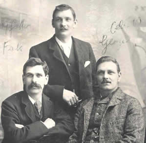 Brothers Frank (30), Mark (25) and George Clist (35) on Mark's wedding day 12 May 1897, in Yeovil, Somerset.